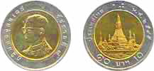 Thailand Coins Information, 10 baht coin